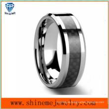Shineme joyas negro de carbono de fibra de tungsteno anillo (tst2827)