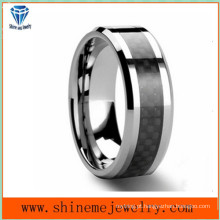 Jóias Shineme Black Carbon Fiber Tungsten Ring (TST2827)