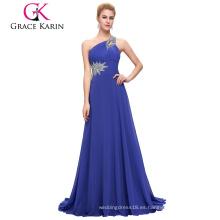 Venta al por mayor Grace Karin rebordeado un hombro azul royal vestido de baile CL2949-5