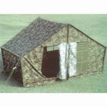 Water-resistant Military Tent with Steel Tube, Made of Camouflage or Nylon