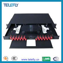 Panneau de raccordement à fibre optique de 1 u 24 ports avec adaptateurs FC
