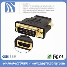 DVI Masculino para HDMI Female adaptador Gold-Plated NOVO MF Converter Para HDTV LCD