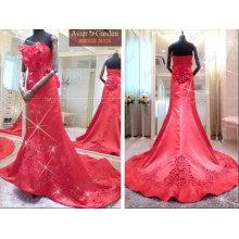 Высокое качество элегантный длинный поезд красный свадебное платье,платье RB050 для новобрачных