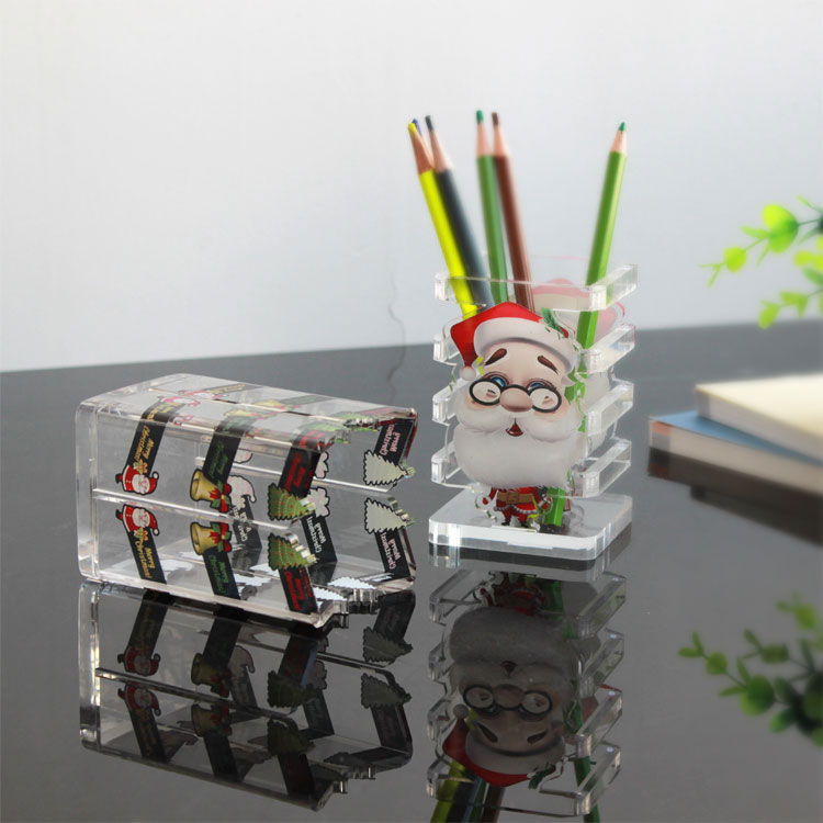 Custom Christmas Clear Acrylic Pencil Holder