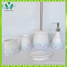 Purple Sinensis Flower Ceramic Cheap Bathroom Accessoires Sets