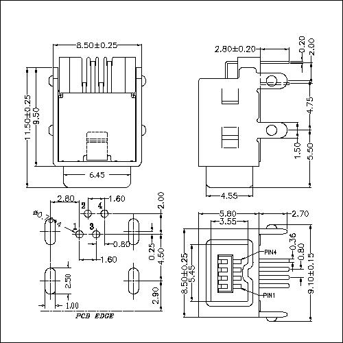 IEFR02-1394 4P Receptacle Angle DIP Type(4 Legs)