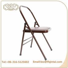 QTZD-001 оптом дешевый коричневый металлический складной стул йоги