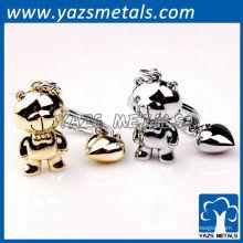 llaveros personalizados del metal de los pares con el diseño del personal
