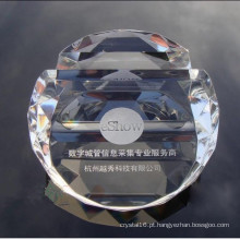 Peso de papel de cristal do cristal do suporte de cartão
