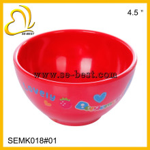 Red melamine bowl for children, color melamine with printing