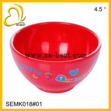 Bacia de melamina vermelha para crianças, melamina de cor com impressão
