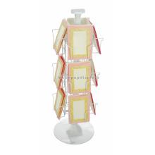 Presentes em pó branco Loja de varejo Cartão postal Suporte 3-Layer Metal Wire Single Book Display Stand