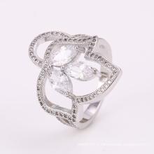 Bague argentée innovatrice de bas prix de conception de nouveaux anneaux avec la fleur de CZ 12297