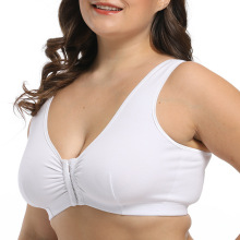 In-stock plus size front closure cotton bra