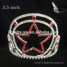Métal en métal plaqué argent plein cristaux étoile coutume couronne