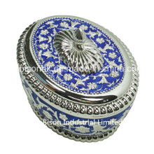 Europea-Style Oval Metal Jewelry Box, Jewelry Packaging Box