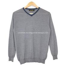 Suéter de cachemir con cuello en V y pequeño suéter de hombre