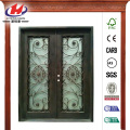 Wrought Iron Double Straight Top Prehung Front Door