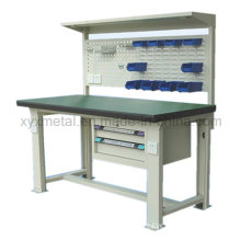 Workbench with Steel Cabinet Drawers Tools Wall Board and Light