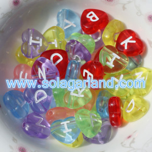 4*11MM Acrylic Clear Heart Shape Letter/Alphabet Beads W/2MM Hole