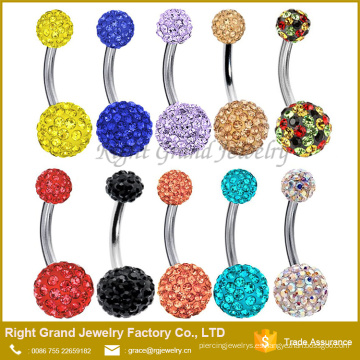 Crystal Disco Ball Belly Ring Navel Bar Piercing Jewelry