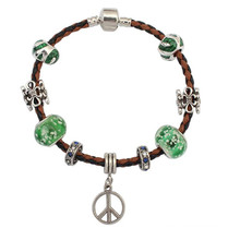YiWu FashionJewelry couro cordão tecido popular pingente pulseira
