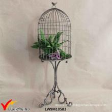 Rustikaler Metall dekorativer Birdcage Stand Vintage