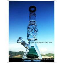 Hb-K70 Base Beaker Perc en línea de doble forma de cono Vidrio tubo de fumar con 3 partes 9 muescas de hielo