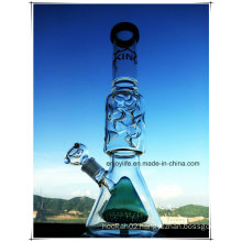 Hb-K70 Base Beaker Perc Inline Double Cone Shape Glass Smoking Water Pipe with 3 Parts 9 Ice Notches