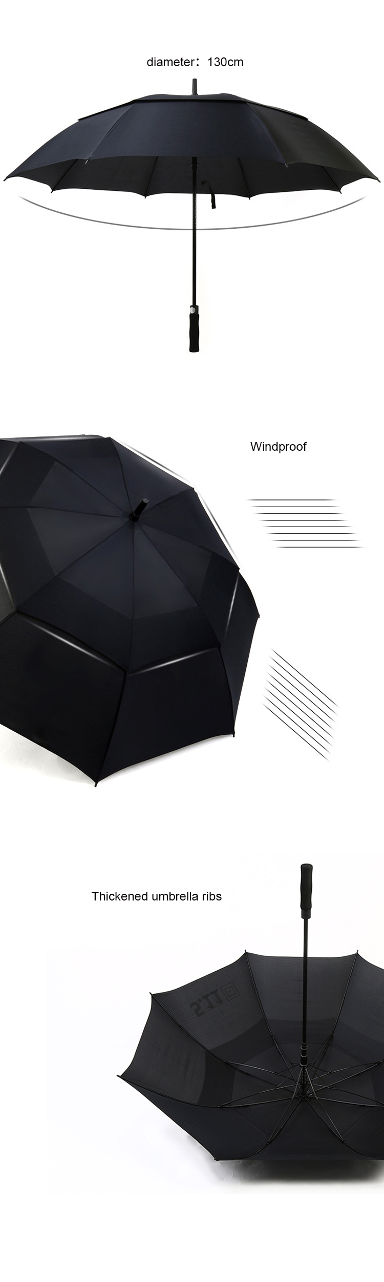 Two layer Advertising Golf Umbrella fiberglass material