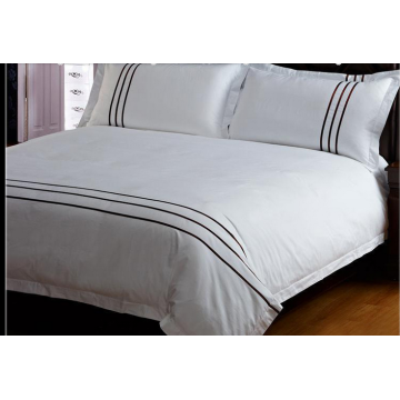 100%Cotton Embroidery White Fitted Sheet Flat Sheet