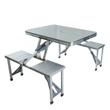 Ahorro de espacio moderno que acampa mesa de acero al aire libre plegable mesa y silla