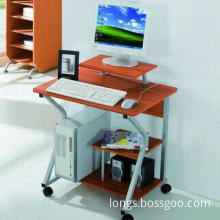 Heat-resistant Computer Desk in Wooden/Steel Structure, Durable Locking Casters for Easy Mobility