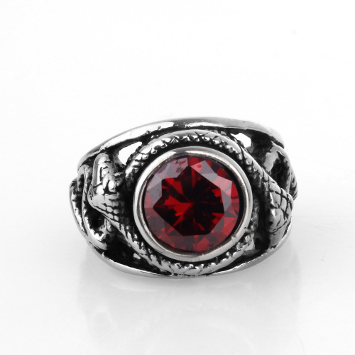 stainless steel ruby diamond ring