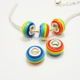 China Rainbow Striped Rondelle 14mm European Acrylic Big Hole Bead for Jewelry Making