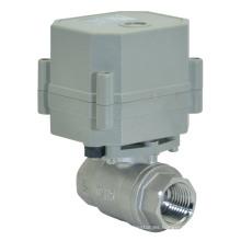 220V Motorized Flow Actuator Válvula de bola de acero inoxidable Válvula de agua de control eléctrico (T15-S2-C)