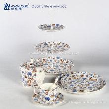 Cheio decalque azul floral padrão jantar jogo porcelana talheres pote