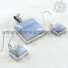 Aristocrático laço azul jóia de prata gemstone jóias conjunto 925 jóias de prata esterlina jóias por atacado