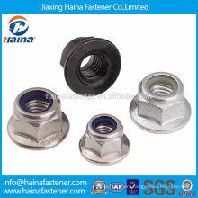Zinc plated steel or stainless steel flange hex nylon insert lock nut