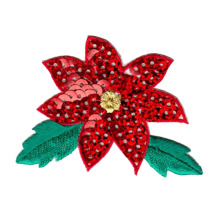 Xmas Poinsettia Flower Broderad Applique Patch