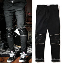 Pantalones con cremallera de cuero de rodilla