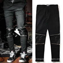 Knee Leather Zipper Pants Casual Black Trousers