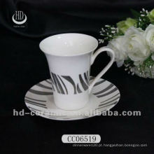 Prata chapeado decalque xícara de chá de cerâmica e pires, xícara de café e pires