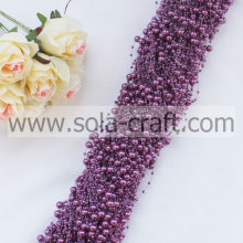 String de pérola roxo Artificial do falso frisado Garland com 3 + contas de 8MM