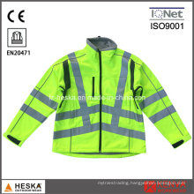 Safety Waterproof Yellow Hivis Tape Softshell Jacket