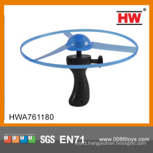 Funny 25CM pull line flying UFO with light pull string flying toy