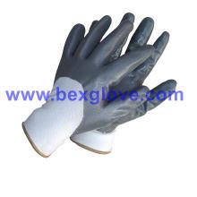 Guante semi-revestido, guante de nitrilo de seguridad