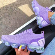 New arrival  air cushion women fashion knitting lace up casual sports running shoes ladies big size shoes 43