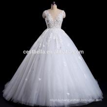 Белый кружева свадебное платье 2016 с глубоким V-обратно V-образным вырезом