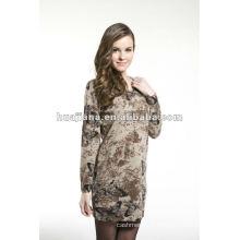 Robe de tricot de cachemire d'impression de papillon des femmes